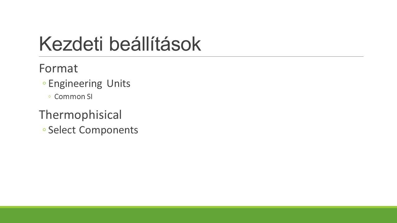 Kezdeti beállítások Format Thermophisical Engineering Units