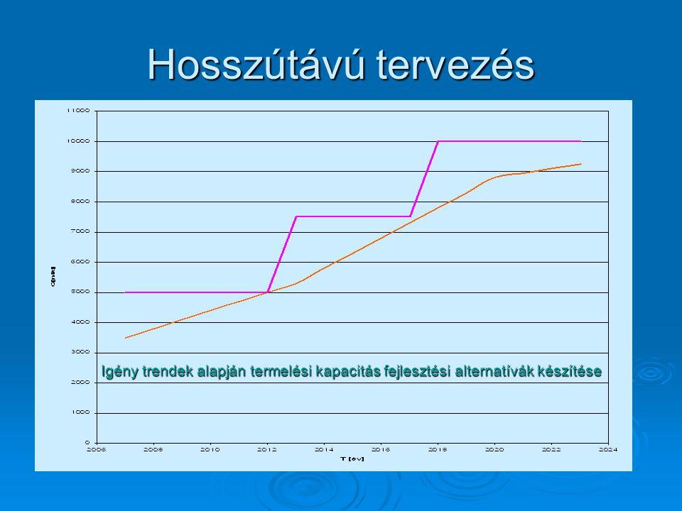 Hosszútávú tervezés Igény trendek alapján termelési kapacitás fejlesztési alternatívák készítése