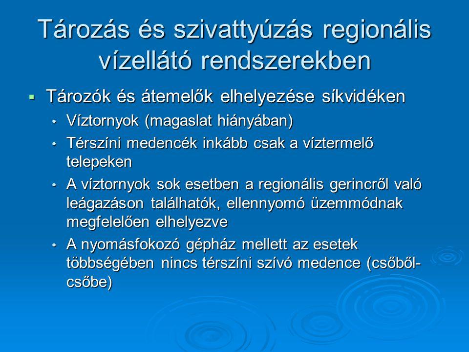 Tározás és szivattyúzás regionális vízellátó rendszerekben
