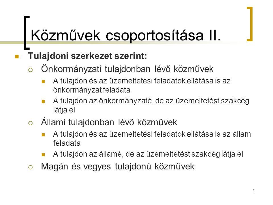 Közművek csoportosítása II.