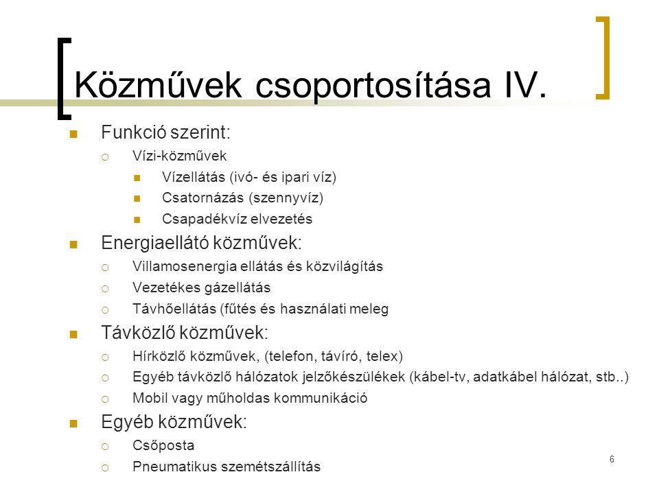 Közművek csoportosítása IV.