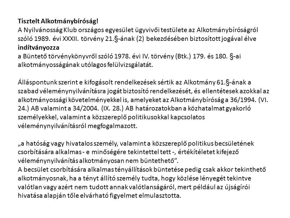 Tisztelt Alkotmánybíróság!
