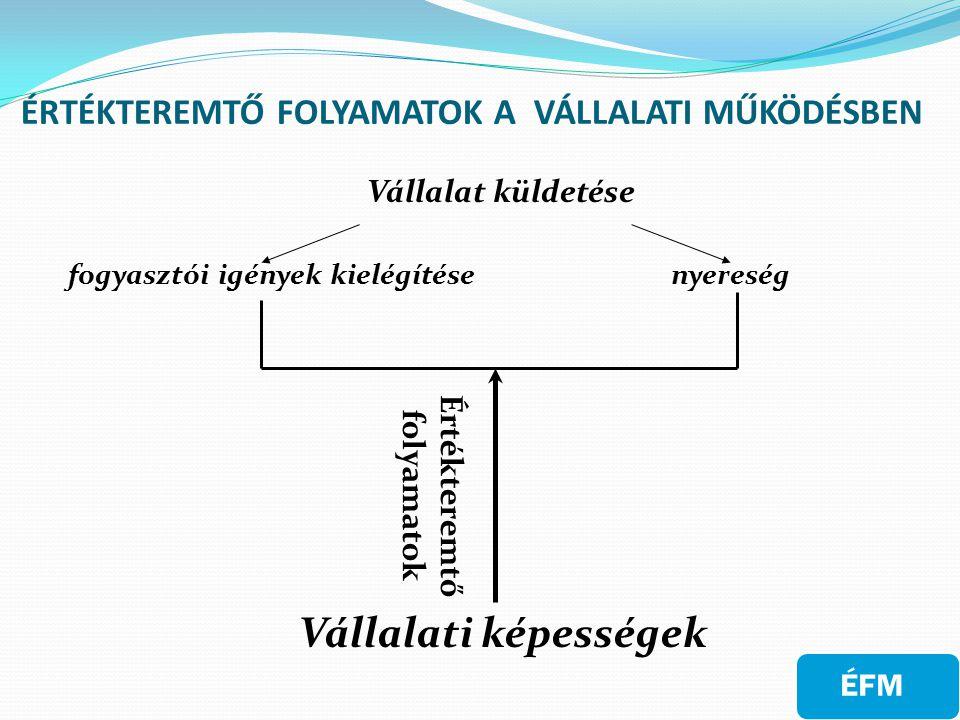 ÉRTÉKTEREMTŐ FOLYAMATOK A VÁLLALATI MŰKÖDÉSBEN