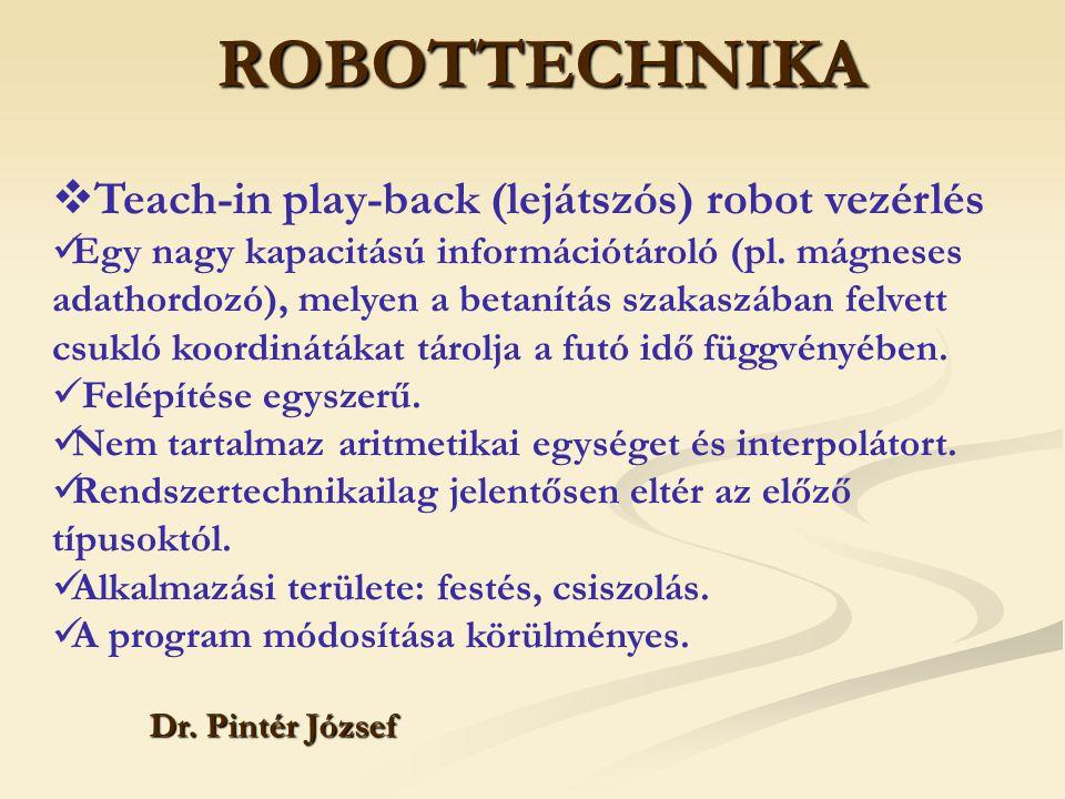 ROBOTTECHNIKA Teach-in play-back (lejátszós) robot vezérlés