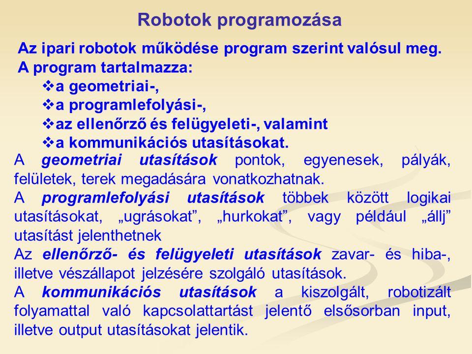 Robotok programozása Az ipari robotok működése program szerint valósul meg. A program tartalmazza: a geometriai-,