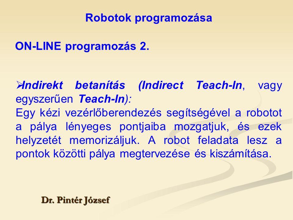 Indirekt betanítás (Indirect Teach-In, vagy egyszerűen Teach-In):