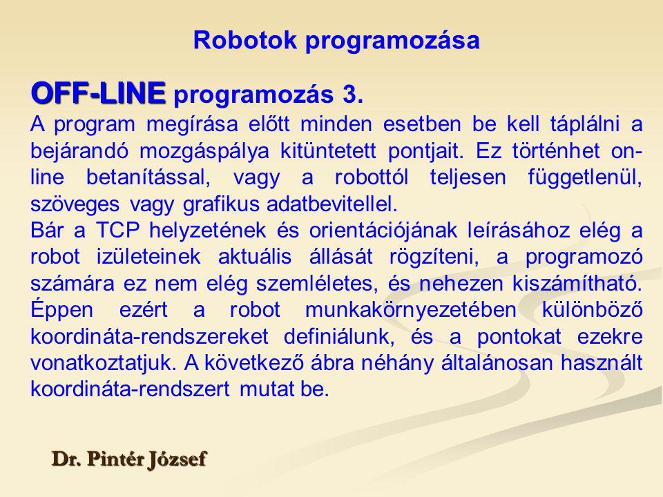 OFF-LINE programozás 3. Robotok programozása