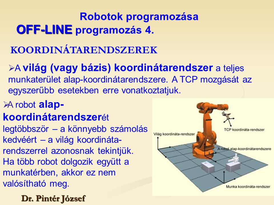 OFF-LINE programozás 4. Robotok programozása KOORDINÁTARENDSZEREK