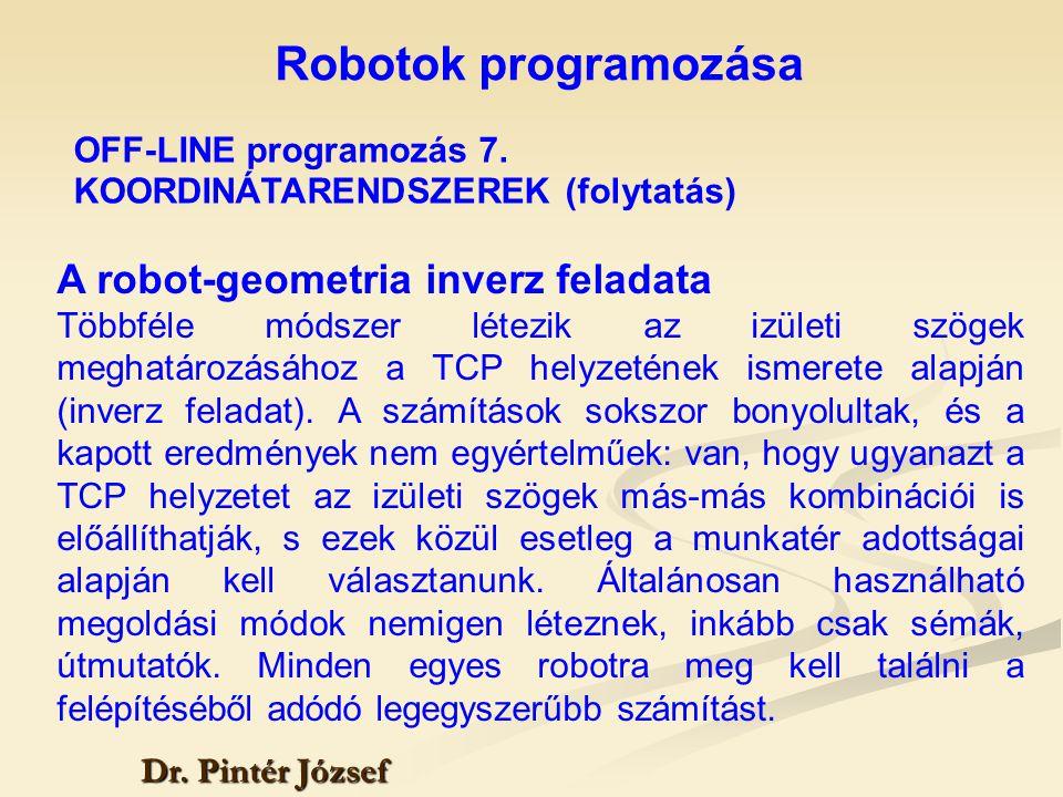Robotok programozása A robot-geometria inverz feladata