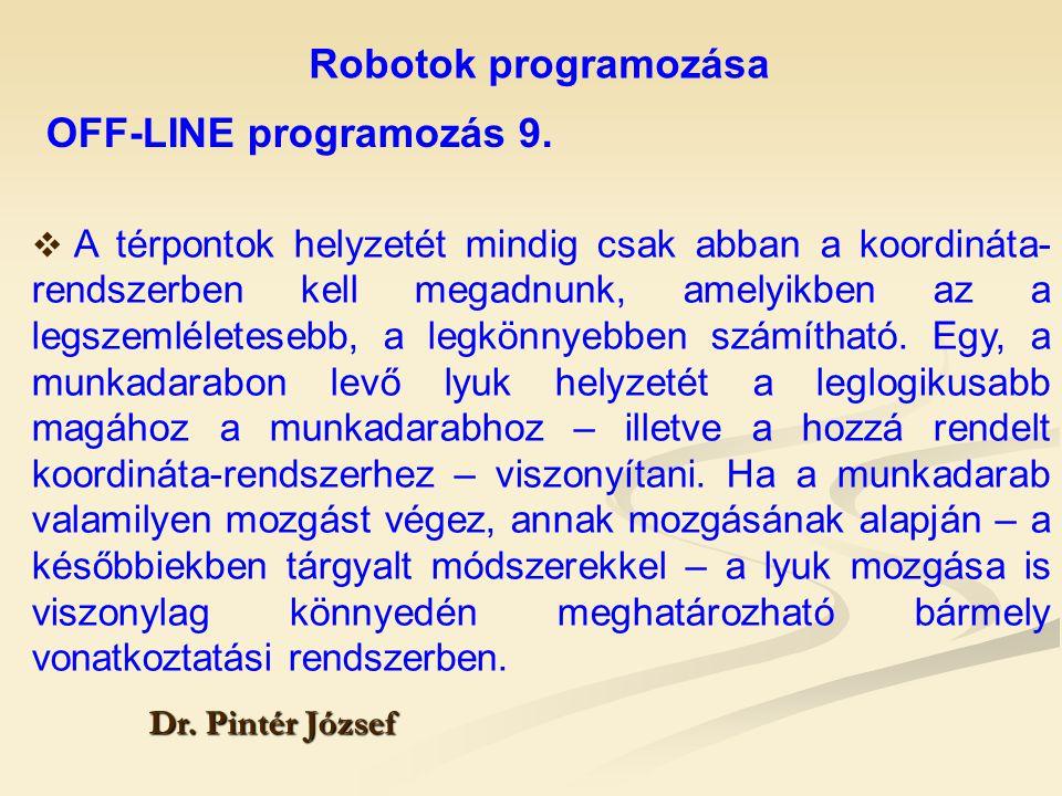 Robotok programozása OFF-LINE programozás 9.