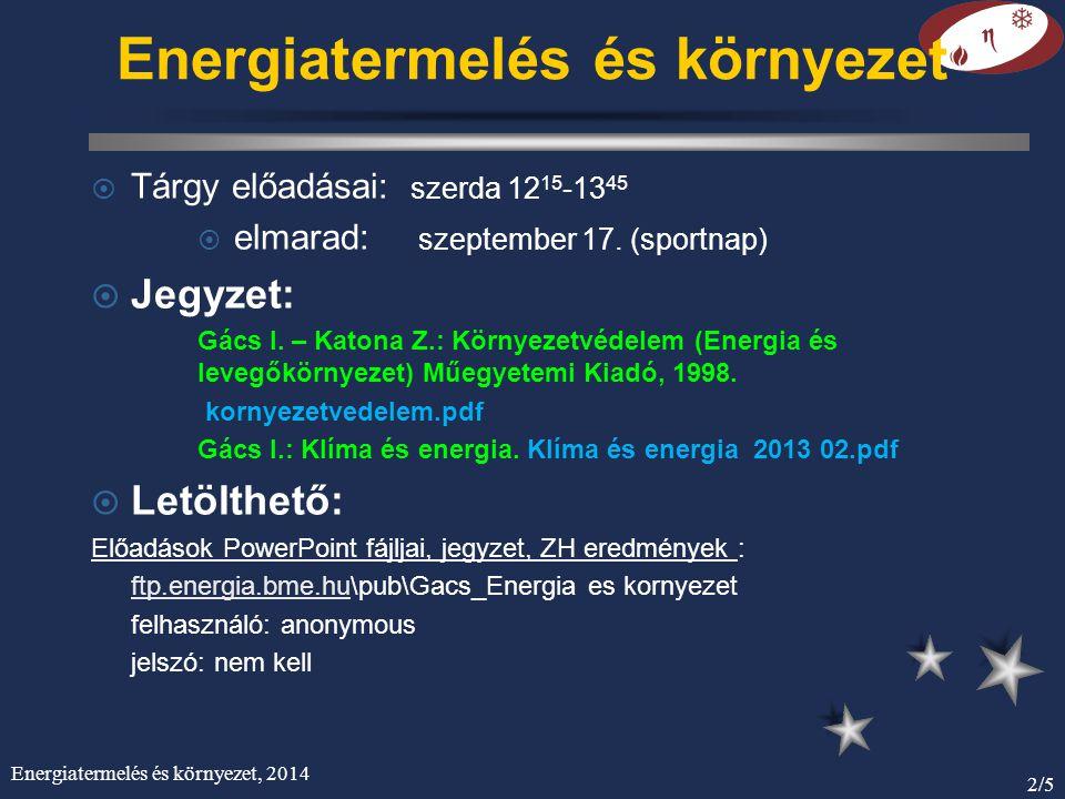 Energiatermelés és környezet