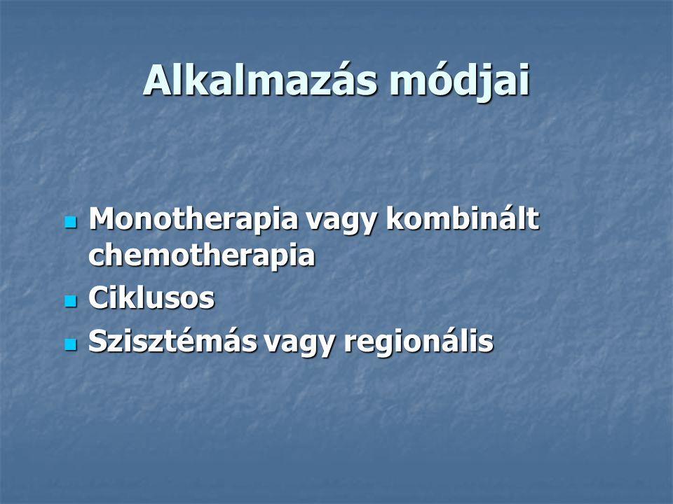 Alkalmazás módjai Monotherapia vagy kombinált chemotherapia Ciklusos