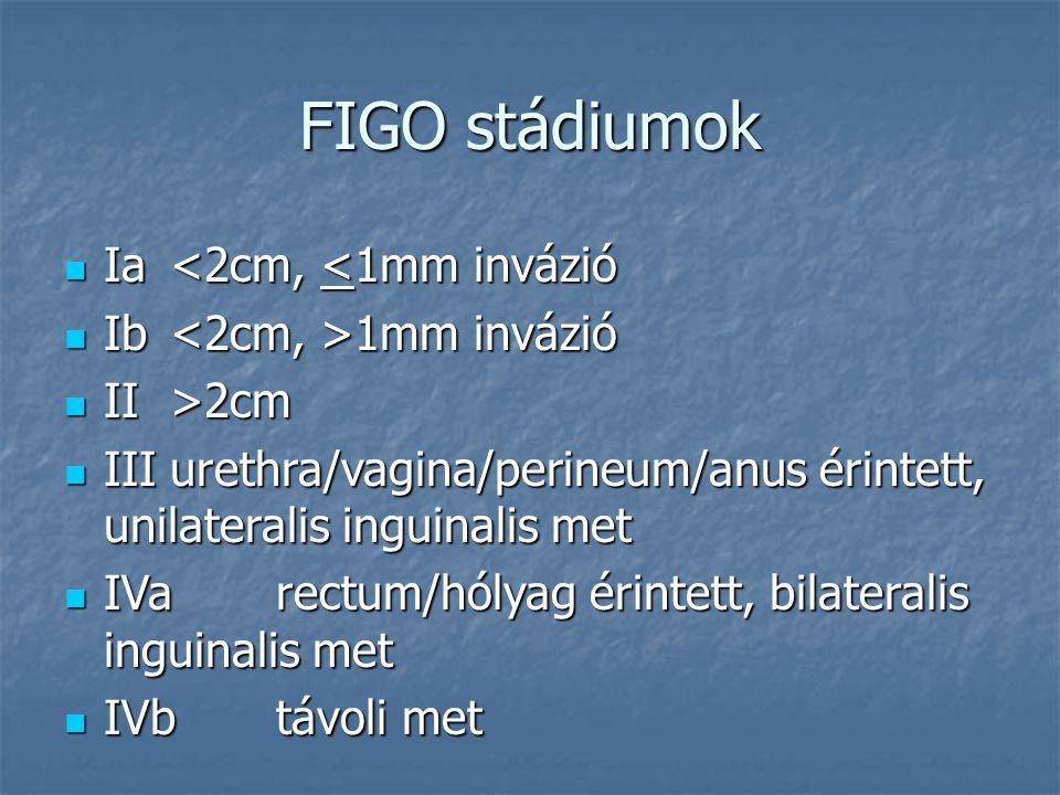 FIGO stádiumok Ia <2cm, <1mm invázió Ib <2cm, >1mm invázió