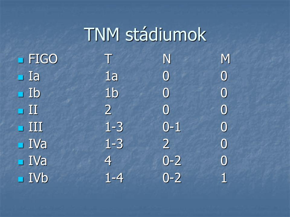 TNM stádiumok FIGO T N M Ia 1a 0 0 Ib 1b 0 0 II 2 0 0 III 1-3 0-1 0