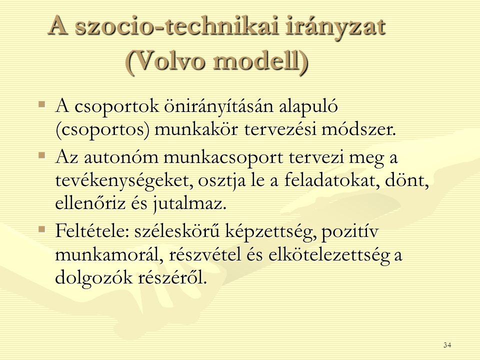 A szocio-technikai irányzat (Volvo modell)