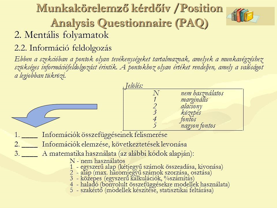 Munkakörelemző kérdőív /Position Analysis Questionnaire (PAQ)