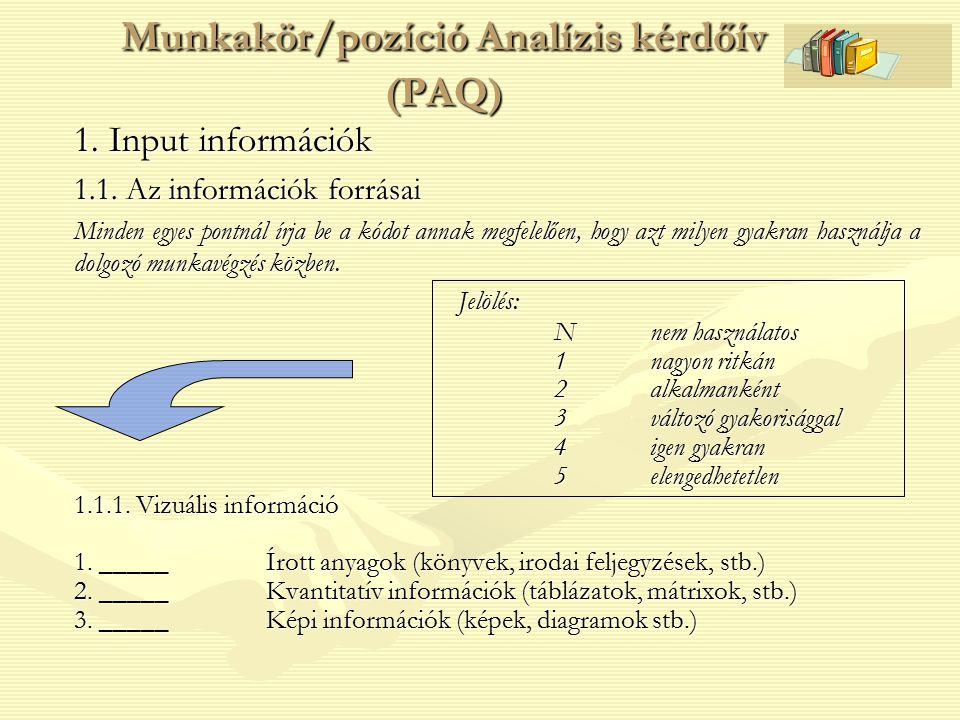 Munkakör/pozíció Analízis kérdőív (PAQ)