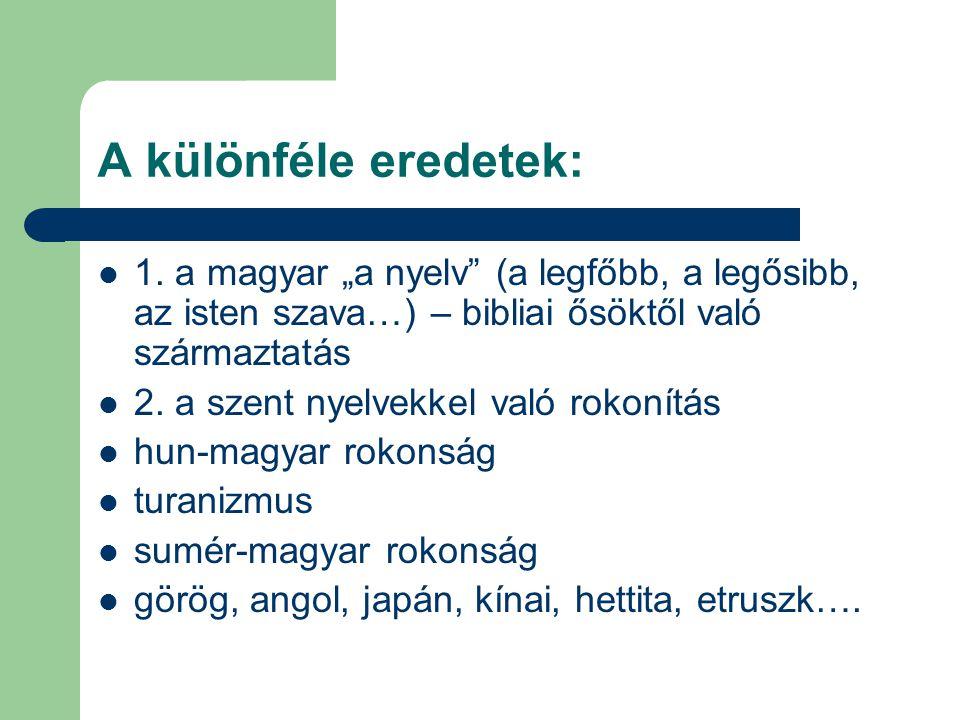 """A különféle eredetek: 1. a magyar """"a nyelv (a legfőbb, a legősibb, az isten szava…) – bibliai ősöktől való származtatás."""
