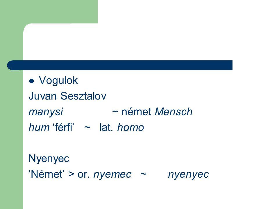 Vogulok Juvan Sesztalov. manysi ~ német Mensch.