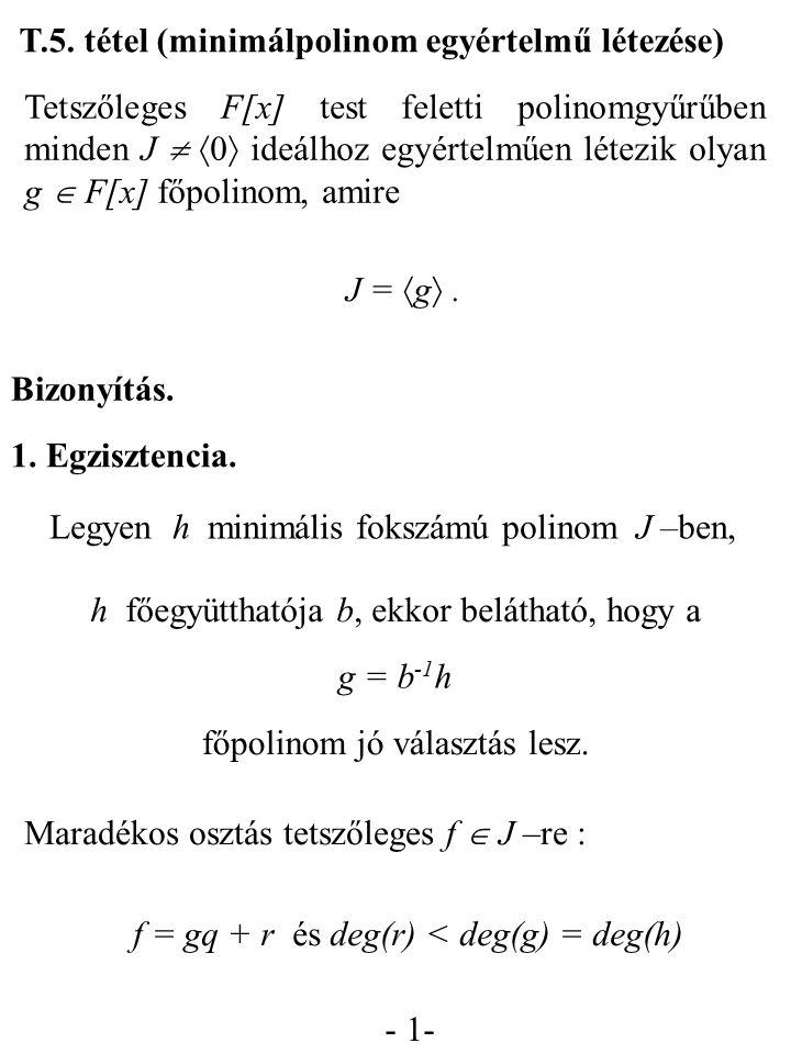 T.5. tétel (minimálpolinom egyértelmű létezése)