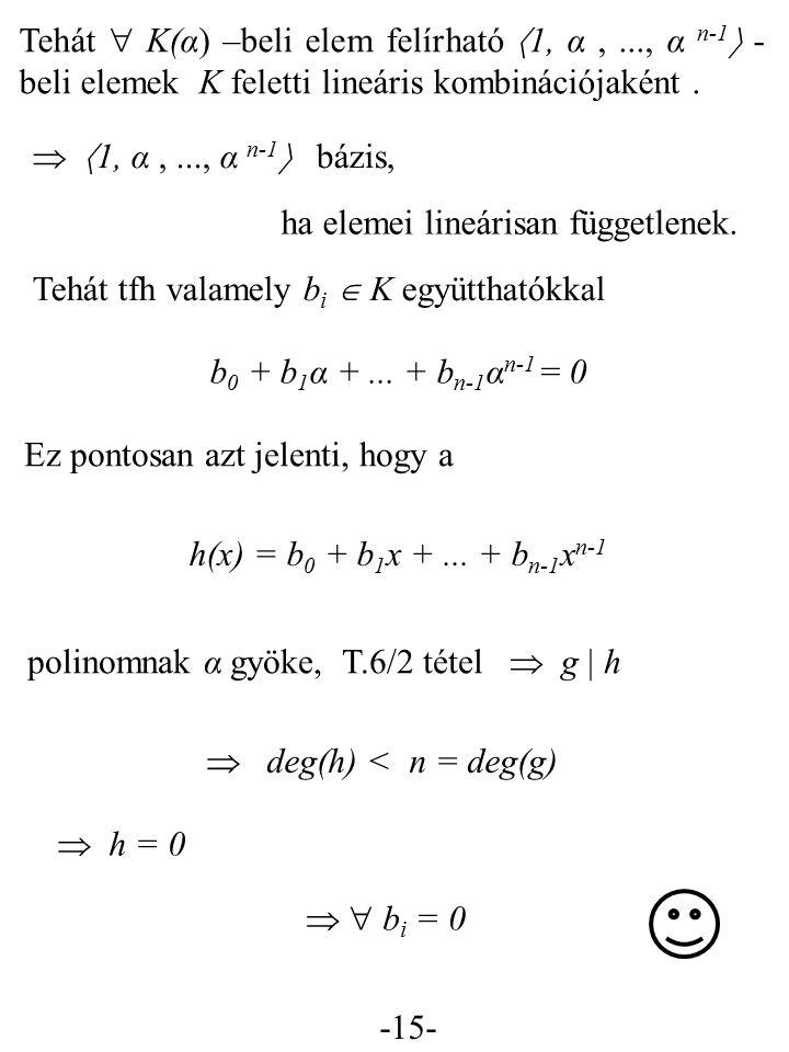 Tehát  K(α) –beli elem felírható 1, α ,