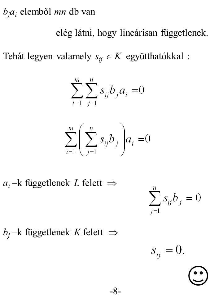 bjai elemből mn db van elég látni, hogy lineárisan függetlenek. Tehát legyen valamely sij  K együtthatókkal :