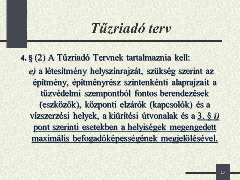 Tűzriadó terv 4. § (2) A Tűzriadó Tervnek tartalmaznia kell:
