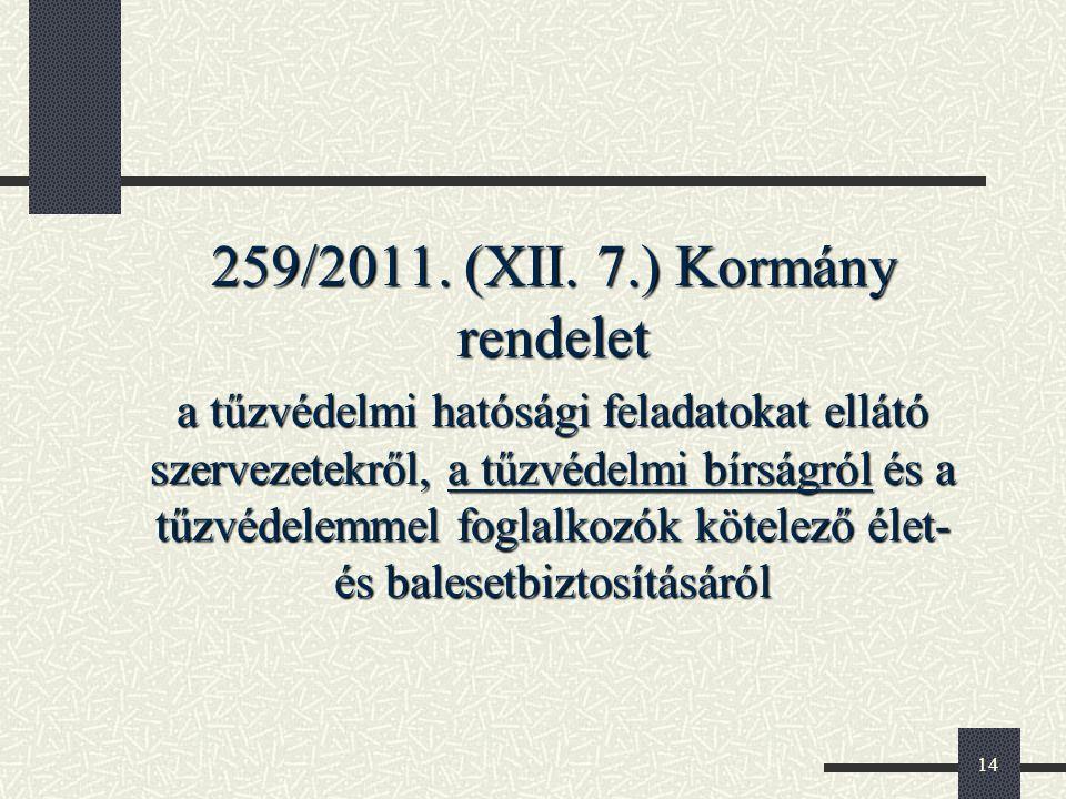 259/2011. (XII. 7.) Kormány rendelet