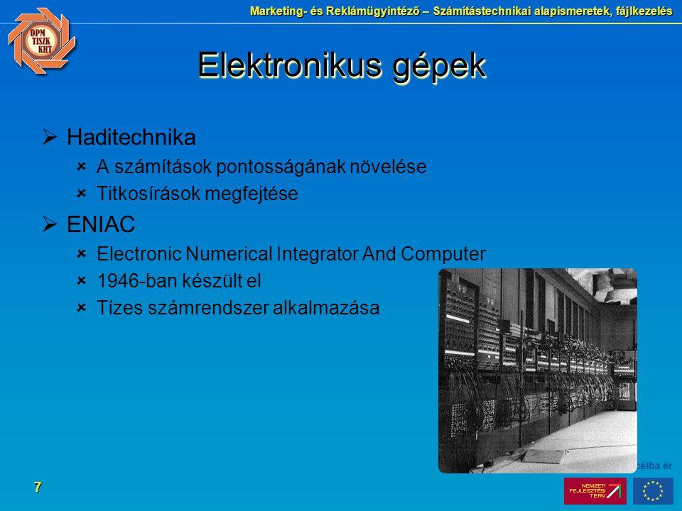 Elektronikus gépek Haditechnika ENIAC