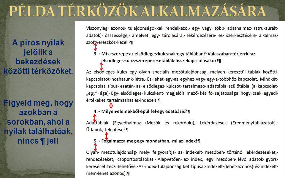 PÉLDA TÉRKÖZÖK ALKALMAZÁSÁRA