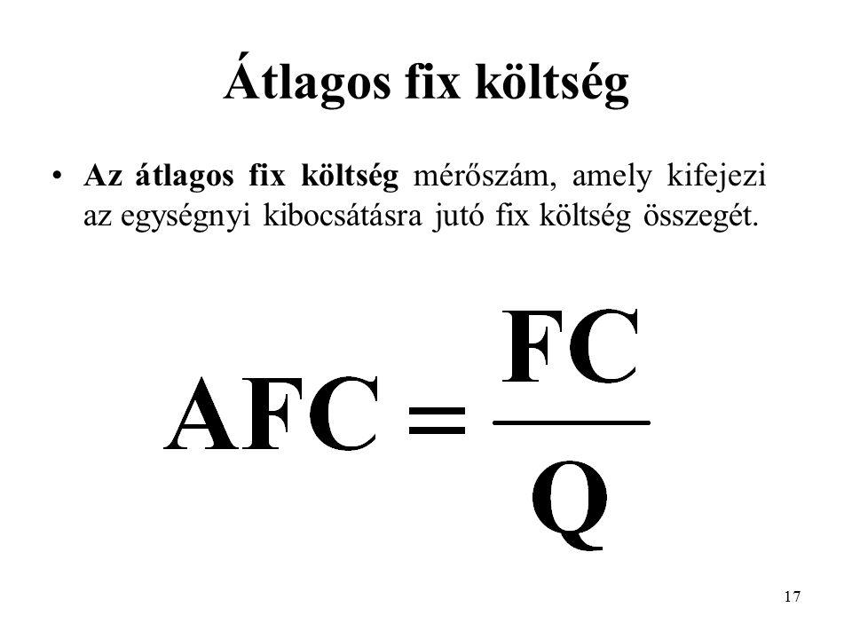 Átlagos fix költség Az átlagos fix költség mérőszám, amely kifejezi az egységnyi kibocsátásra jutó fix költség összegét.