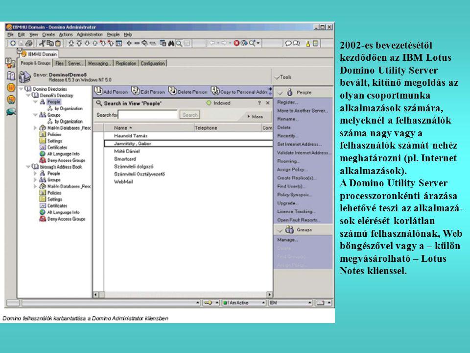 2002-es bevezetésétől kezdődően az IBM Lotus Domino Utility Server bevált, kitűnő megoldás az olyan csoportmunka