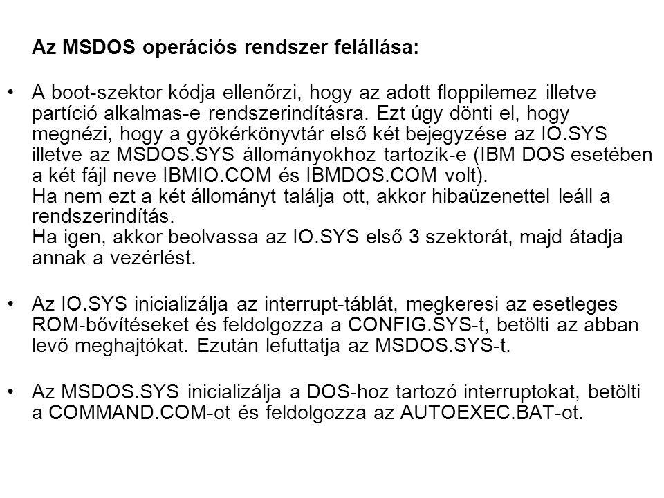 Az MSDOS operációs rendszer felállása: