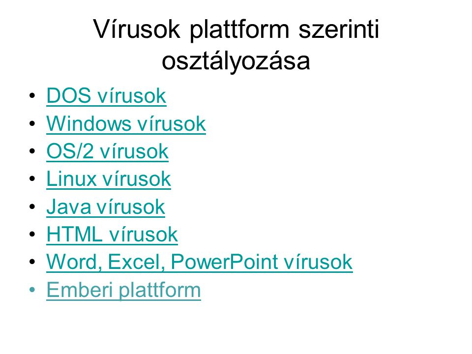 Vírusok plattform szerinti osztályozása
