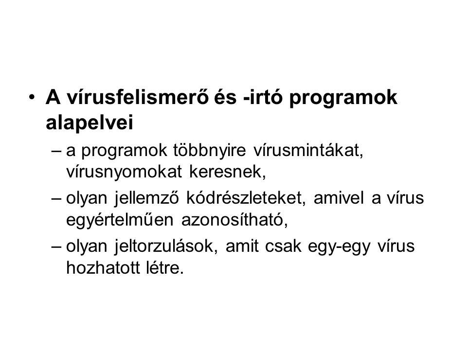 A vírusfelismerő és -irtó programok alapelvei