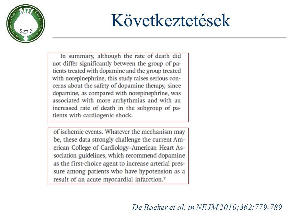 Következtetések De Backer et al. in NEJM 2010;362:779-789