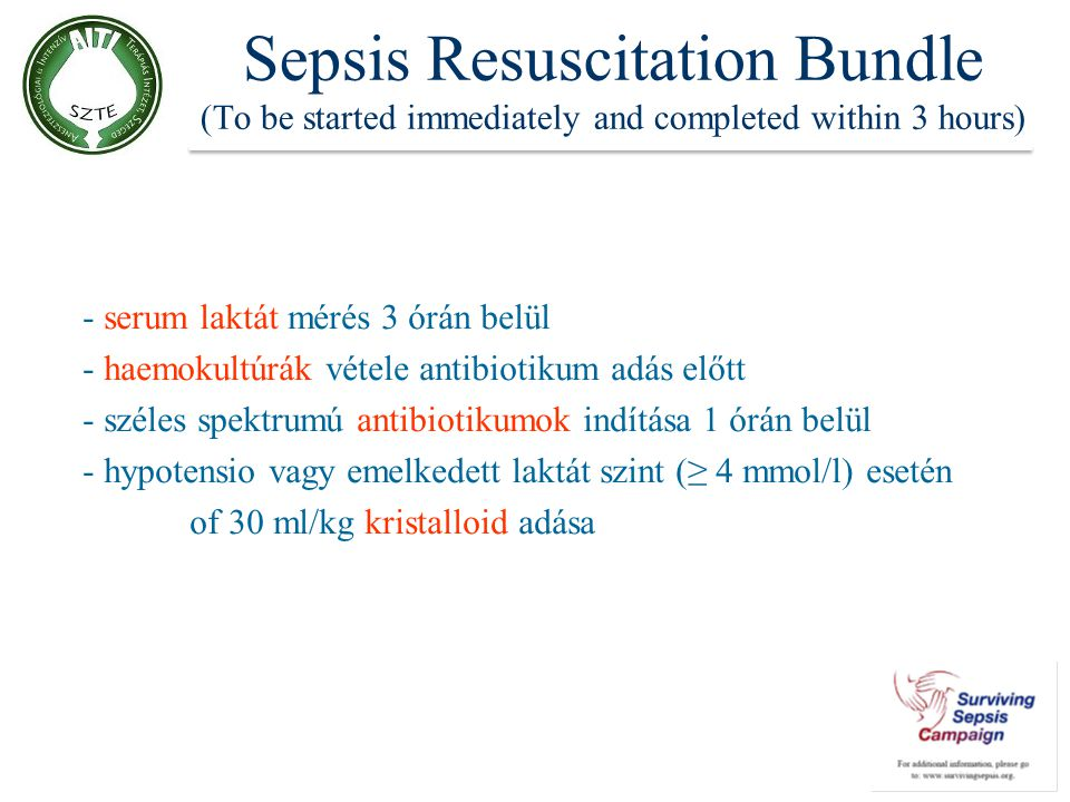 Sepsis Resuscitation Bundle (To be started immediately and completed within 3 hours)