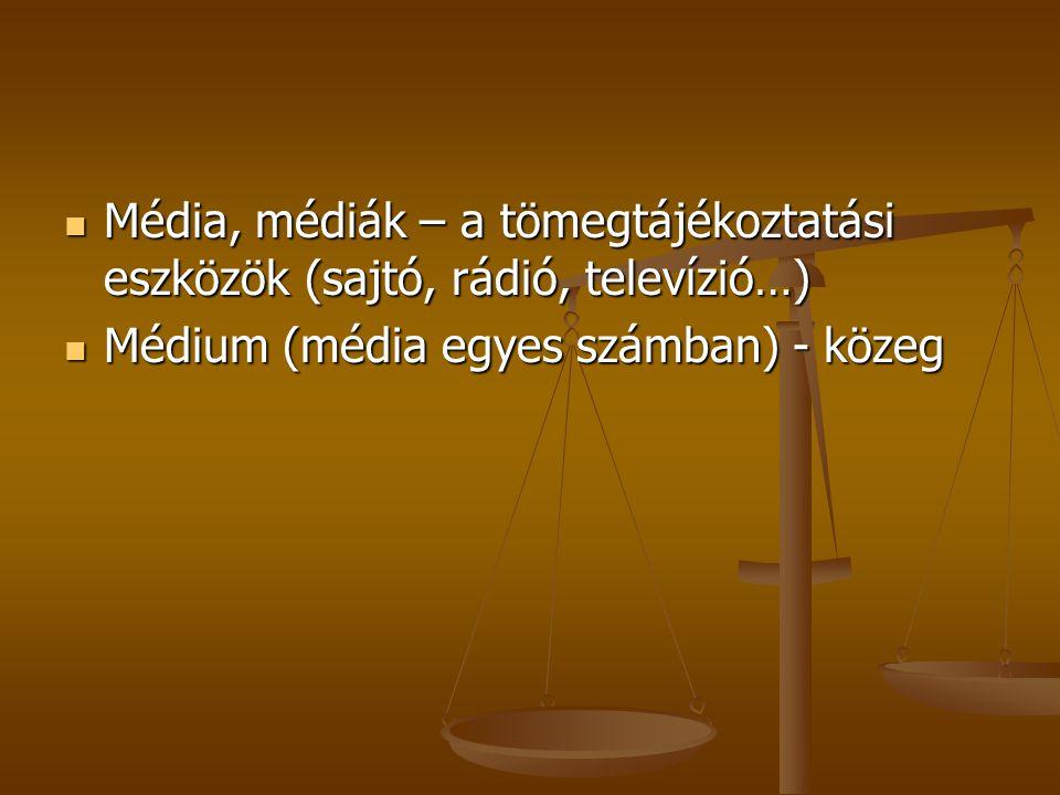 Média, médiák – a tömegtájékoztatási eszközök (sajtó, rádió, televízió…)