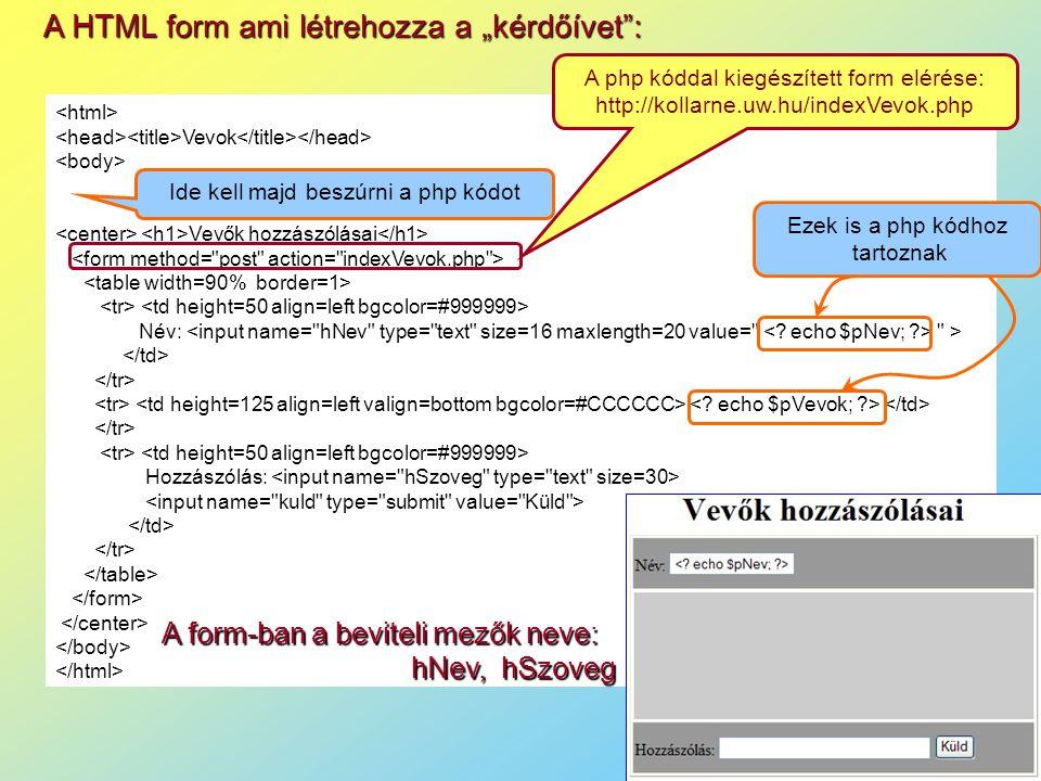 """A HTML form ami létrehozza a """"kérdőívet :"""