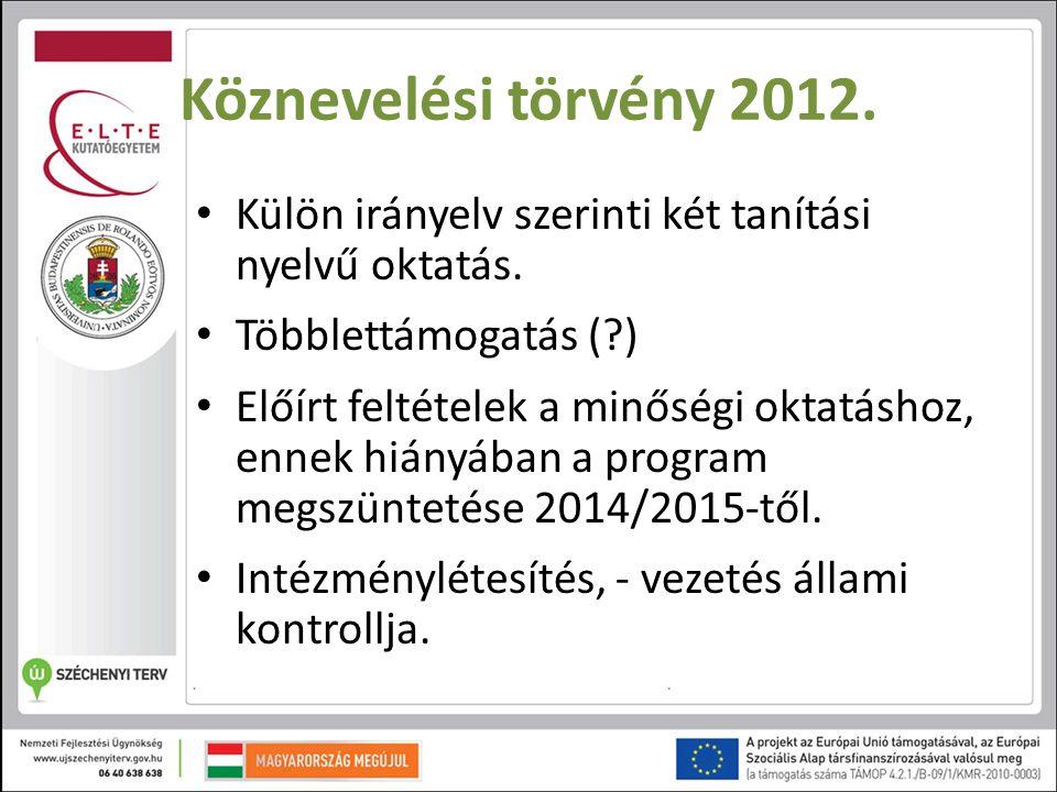 Köznevelési törvény 2012. Külön irányelv szerinti két tanítási nyelvű oktatás. Többlettámogatás ( )