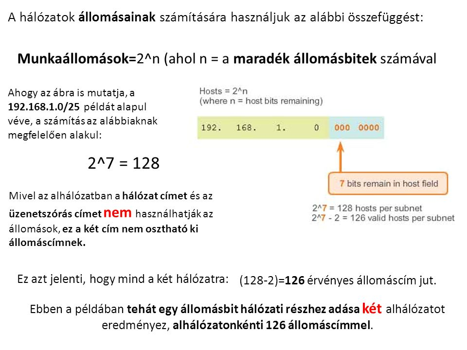 2^7 = 128 Munkaállomások=2^n (ahol n = a maradék állomásbitek számával
