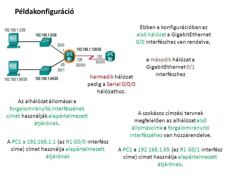 Példakonfiguráció Ebben a konfigurációban az első hálózat a GigabitEthernet 0/0 interfészhez van rendelve,