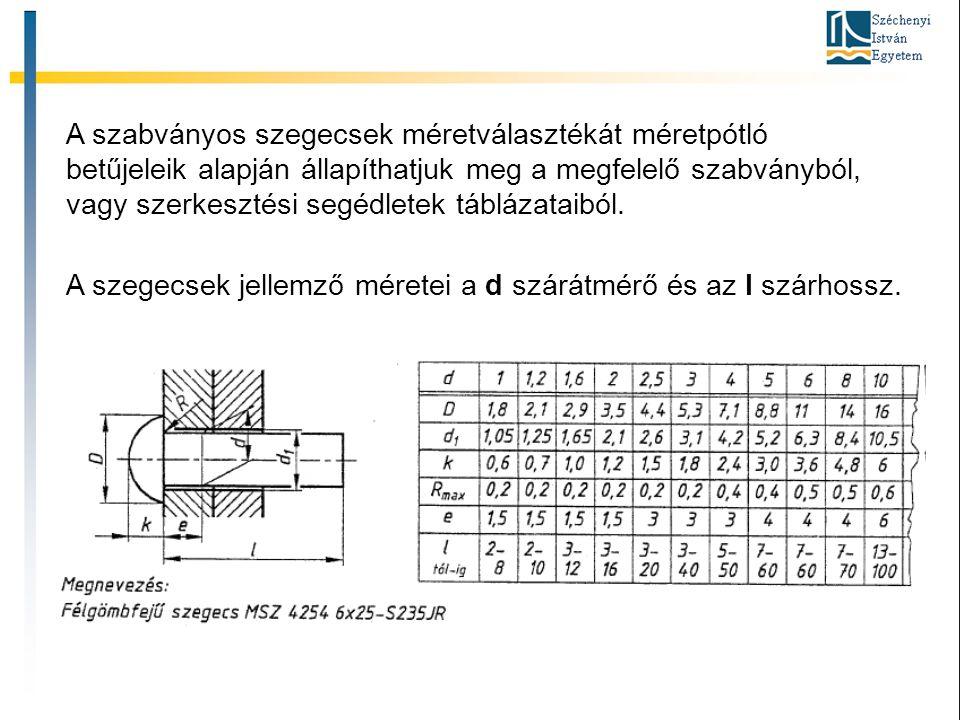 A szabványos szegecsek méretválasztékát méretpótló betűjeleik alapján állapíthatjuk meg a megfelelő szabványból, vagy szerkesztési segédletek táblázataiból.