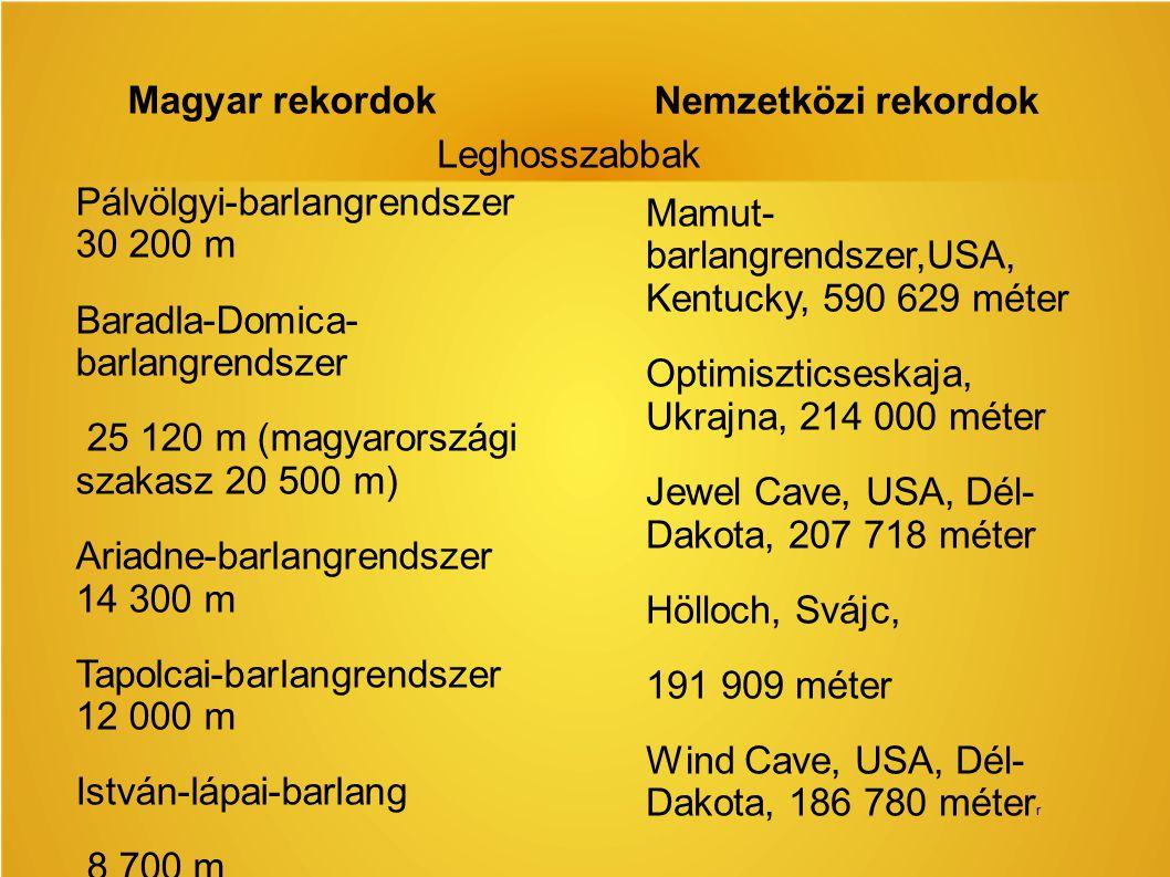 Magyar rekordok Nemzetközi rekordok. Leghosszabbak. Pálvölgyi-barlangrendszer 30 200 m. Baradla-Domica- barlangrendszer.