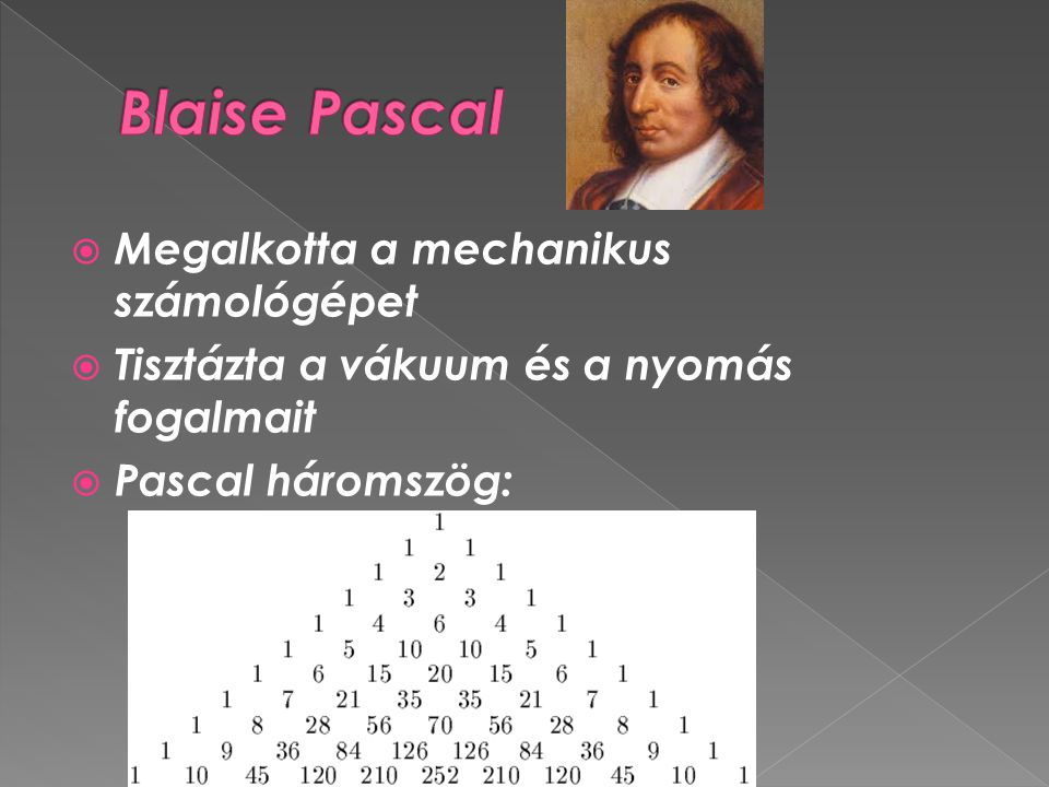 Blaise Pascal Megalkotta a mechanikus számológépet