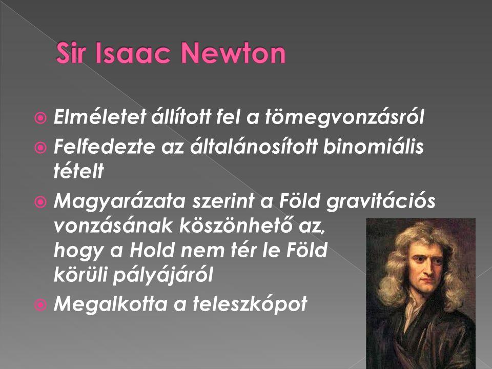 Sir Isaac Newton Elméletet állított fel a tömegvonzásról