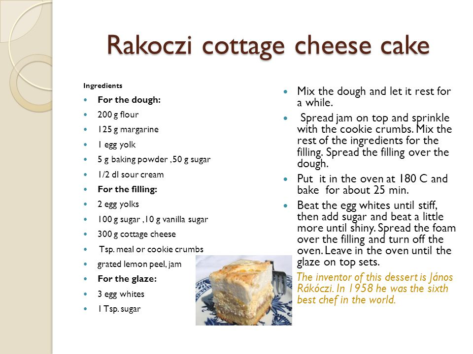 Rakoczi cottage cheese cake