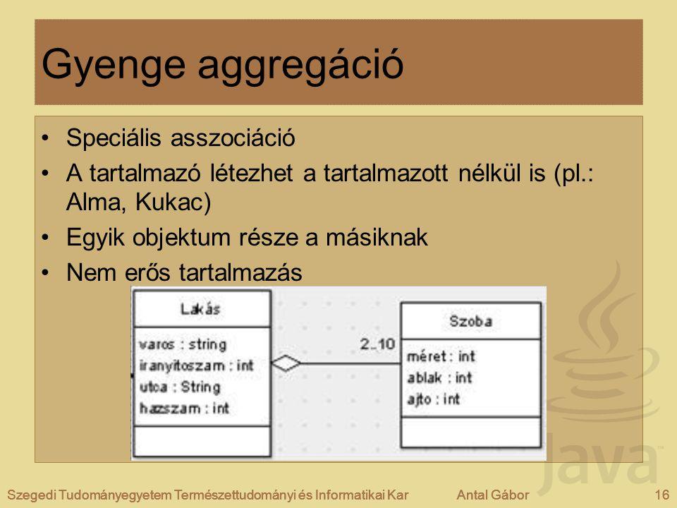 Gyenge aggregáció Speciális asszociáció