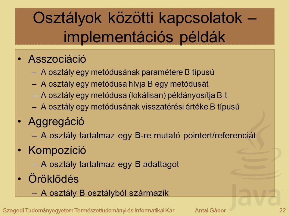 Osztályok közötti kapcsolatok – implementációs példák