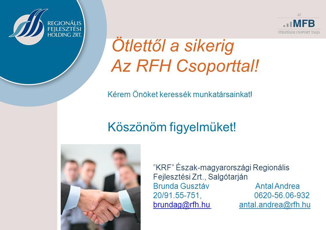 Ötlettől a sikerig Az RFH Csoporttal! Köszönöm figyelmüket!